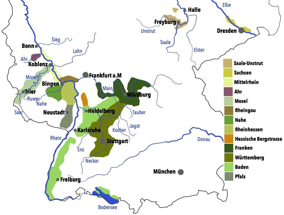 Deutschland Weinbaugebiete